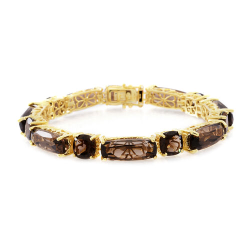 Brazilian Smoky Quartz (Cush) Bracelet (Size 7.5) in 14K Gold Overlay Sterling Silver 55.00 Ct.Silver Wt 17.00 Gms.