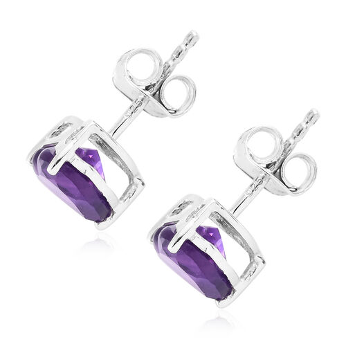 Amethyst (Hrt) Stud Earrings (with Push Back) in Platinum Overlay Sterling Silver 2.000 Ct.