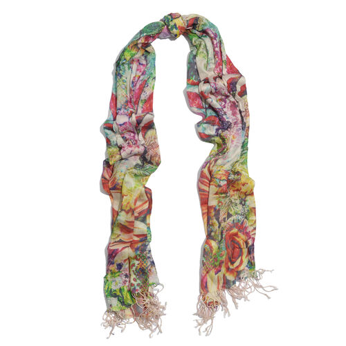 100% Modal Floral Digital Print Multi Colour Scarf (Size 190x70 Cm)