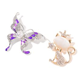 Set of 2 - Simulated White Pearl, Simulated White Cats Eye, White and Magic Colour Austrian Crystal Enameled Butterfly and Cat Brooch in Yellow Gold Tone
