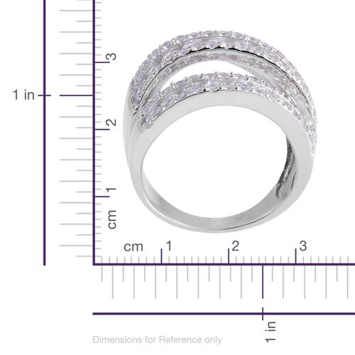 AAA Simulated White Diamond Ring in Platinum Overlay Sterling Silver