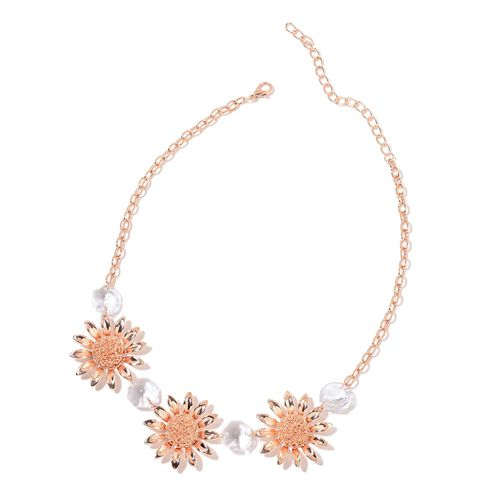 Simulated White Diamond Sunflower BIB Necklace (Size 20 with 2 inch Extender) in Rose Gold Tone