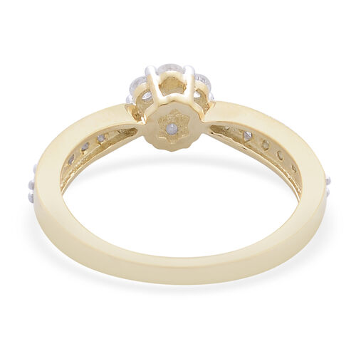 9K Yellow Gold 0.50 Carat Diamond Floral Ring SGL Certified I3 G-H