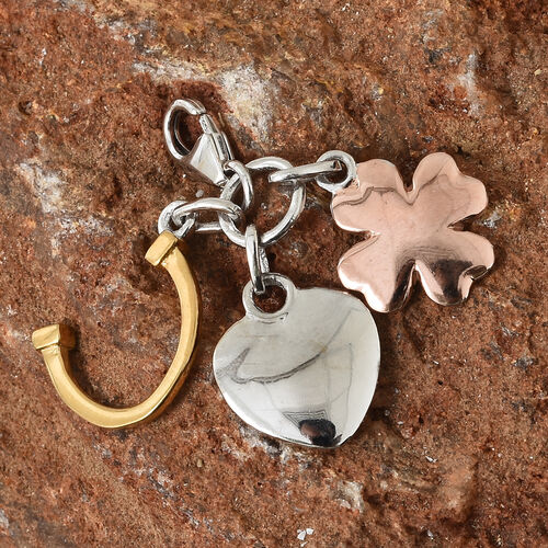 Heart, Horseshoe and Floral Charm in Platinum, Gold and Rose Plated Silver
