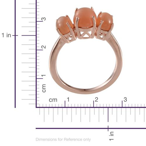 Mitiyagoda Peach Moonstone (Ovl 1.75 Ct) 3 Stone Ring in Rose Gold Overlay Sterling Silver 3.500 Ct.
