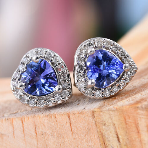9K White Gold AA Tanzanite (Hrt), Diamond Stud Earrings (with Push Back) 1.000 Ct.