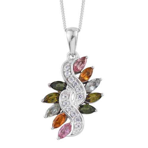 Rainbow Tourmaline (Mrq), Natural Cambodian Zircon Pendant With Chain in Platinum Overlay Sterling Silver 1.500 Ct.