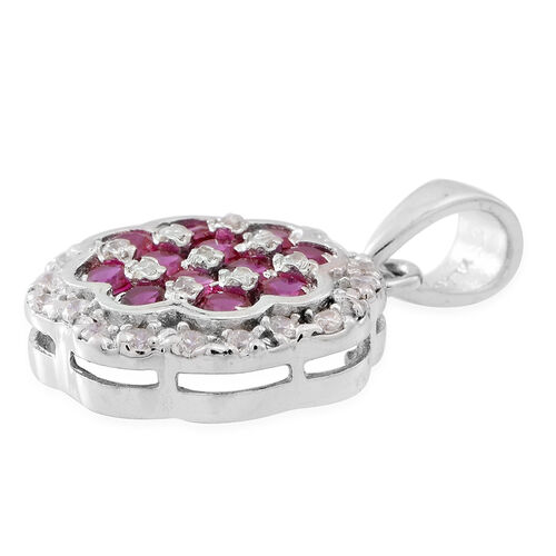 ELANZA AAA Simulated Ruby (Rnd), Simulated Diamond Pendant in Rhodium Plated Sterling Silver