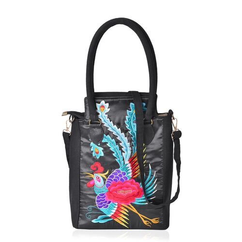 Shanghai Collection - Black, Turquoise and Multi Colour Phoenix Pattern Tote Bag with Adjustable Shoulder Strap (Size 33.5x24x12.5 Cm)