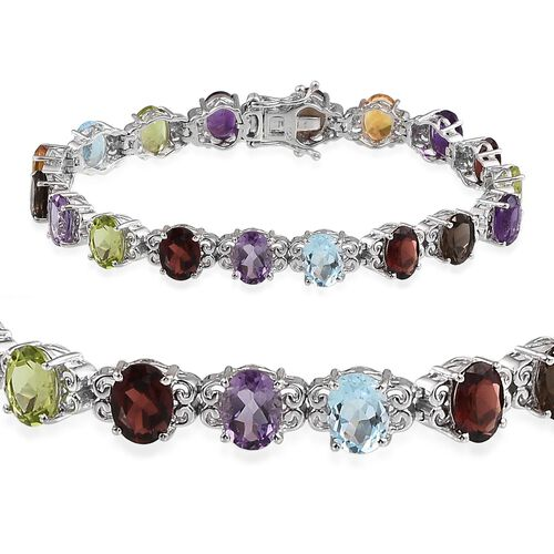 Mozambique Garnet (Ovl), Sky Blue Topaz, Rose De France Amethyst, Hebei Peridot, Citrine, Amethyst and Brazilian Smoky Quartz Bracelet (Size 7.5) in Platinum Overlay Sterling Silver 22.000 Ct.