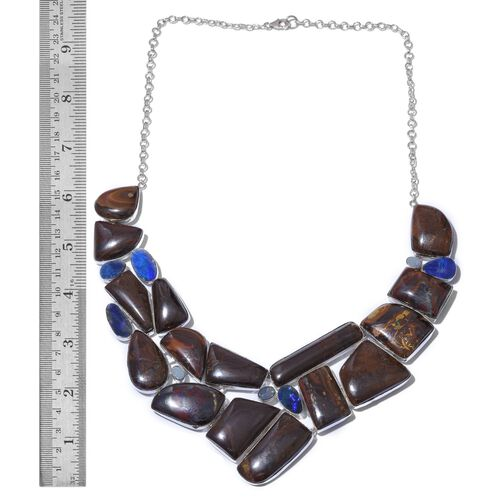 One Off A Kind- Australian Boulder Opal Rock and Opal Double Necklace (Size 18) in Sterling Silver 511.400 Ct. Silver wt 53.42 Gms.
