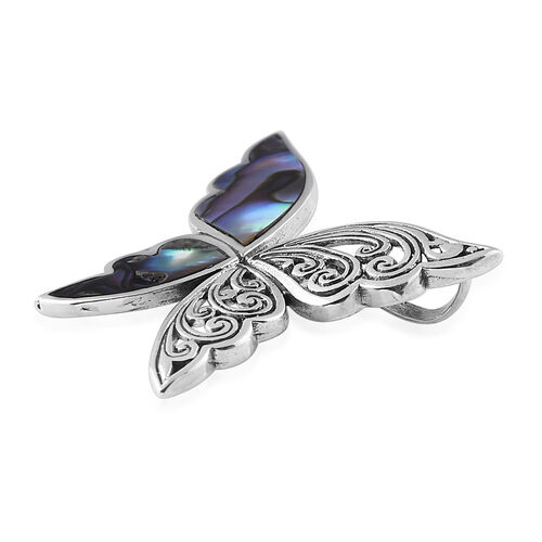 Designer Inspired- Royal Bali Collection Abalone Shell Butterfly Pendant in Sterling Silver