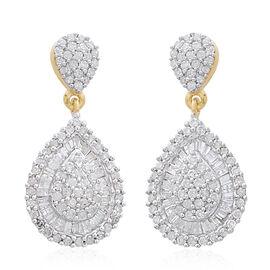 Limited Edition - 9K Y Gold SGL Certified Diamond (Rnd) (I3/G-H) Tear Drop Earrings 1.000 Ct.