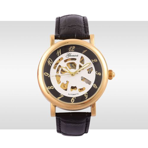 GENOA Automatic Skeleton White and Black Dial Water Resistant Watch in Gold Tone with Black Colour Strap