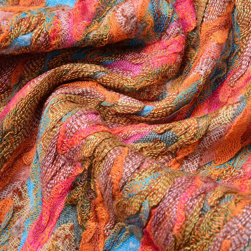 Italian Designer Inspired-Orange, Pink and Multi Colour Zigzag Pattern Scarf with Tassels (Size 170X30 Cm)