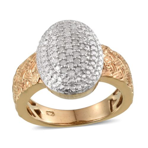 Diamond (Rnd) Ring in 14K Gold Overlay Sterling Silver 0.250 Ct.