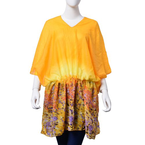 Multi Colour Printed Yellow Colour Tunic (Free Size)