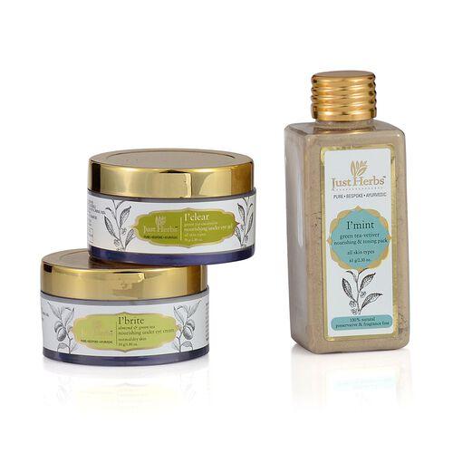Just Herbs Mint Green Tea Vetiver (65g), Clear Under Eye Gel (50g) and Brite Under Eye Cream (50g)