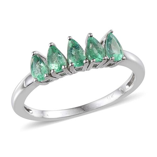 9K W Gold Boyaca Colombian Emerald (Pear) 5 Stone Ring 1.000 Ct.