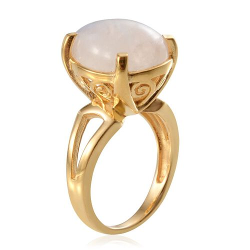 Ceylon Rainbow Moonstone (Pear) Solitaire Ring in 14K Gold Overlay Sterling Silver 7.750 Ct.