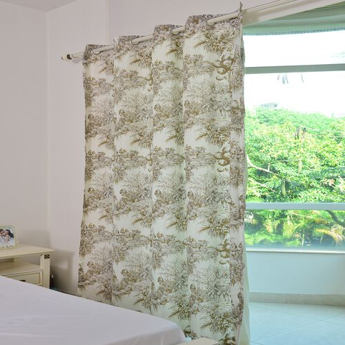 Toile de Jouy Romantic Print Eyelet Curtain and Tieback in Brown and Beige Tones with Solid Colour Lining (Size 167x230 cm)