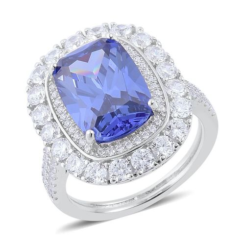 ELANZA AAA Simulated Blue Sapphire (Cush), Simulated White Diamond Ring in Rhodium Plated Sterling Silver