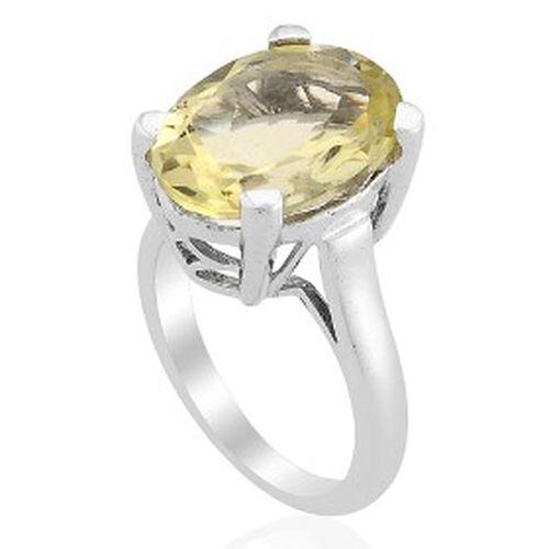 KARIS Brazilian Green Gold Quartz (7.75 Ct) Platinum Bond Brass Ring