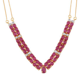 Limited Edition-AAA Burmese Ruby (Ovl), Natural White Cambodian Zircon Necklace (Size 20) in 14K Gold Overlay Sterling Silver 11.000 Ct. Silver wt 9.00 Gms.