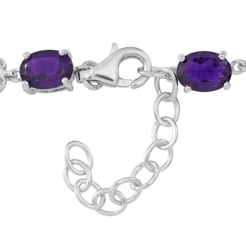 Amethyst (Ovl) Bracelet (Size 7.5 with 1.5 inch Extender) in Rhodium Plated Sterling Silver 10.000 Ct.