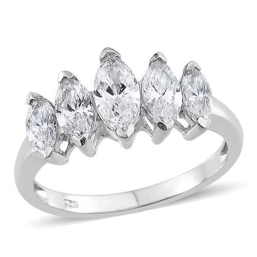 J Francis - Platinum Overlay Sterling Silver (Mrq) 5 Stone Ring Made with SWAROVSKI ZIRCONIA
