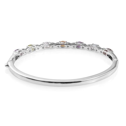 White Topaz (Ovl), Mozambique Garnet, Sky Blue Topaz, Amethyst, Hebei Peridot, Rose De France Amethyst and Citrine Bangle (Size 7.5) in ION Plated Platinum Bond 3.000 Ct.