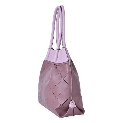 Mauve and Light Pink Colour Laser Cut Pattern Tote Bag (Size 40x30x13.5 Cm)