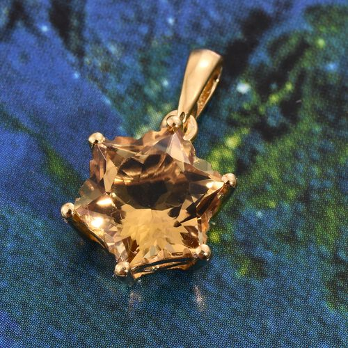 STELLARIS CUT Citrine Pendant in 14K Gold Overlay Sterling Silver 3.750 Ct.