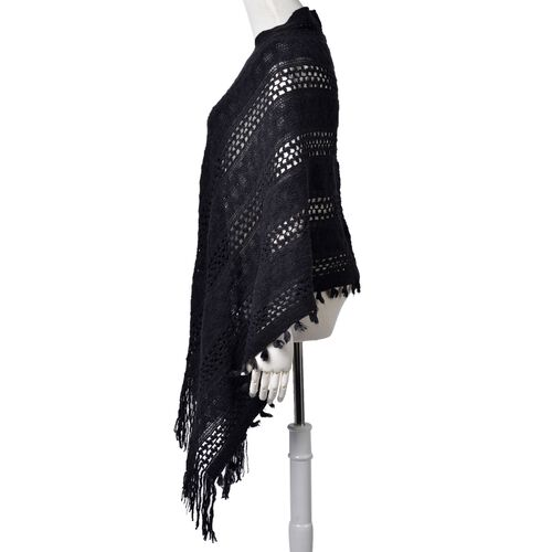 Black Colour Knitted Poncho with Fringes (Free Size)