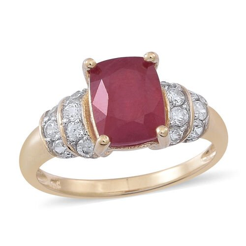 9K Y Gold African Ruby (Cush 3.25 Ct), Natural Cambodian White Zircon Ring 3.750 Ct.