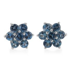RHAPSODY 950 Platinum 1 Carat Santa Maria Aquamarine Floral Stud Earrings with Screw Back