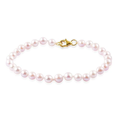 Japanese Akoya Pearl (Rnd 5-6mm) Ball Beads Bracelet (Size 7.5) in Yellow Gold Overlay Sterling Silver