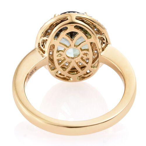 ILIANA 18K Yellow Gold AAA Green Tanzanite (Ovl 3.89 Ct), Diamond (SI/G-H) Ring 4.400 Ct.