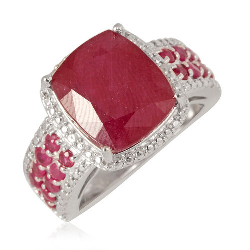 African Ruby (Cush 7.00 Ct), Burmese Ruby and Diamond Ring in Rhodium Plated Sterling Silver 8.030 Ct.
