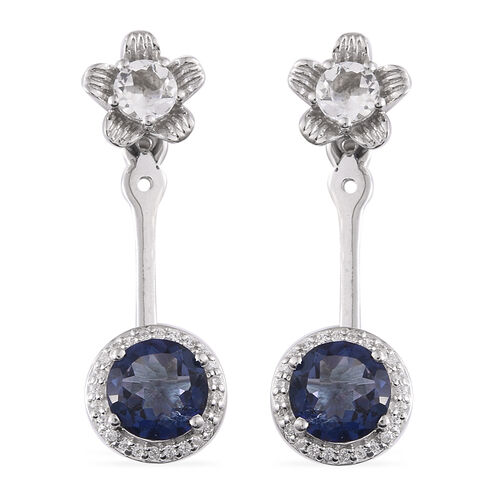 Limited Available- One Time Deal Odyssey Tanzanite Quartz (Rnd), White Topaz and Natural Cambodian Zircon Earrings (with Push Back) in Platinum Overlay Sterling Silver 5.369 Ct.