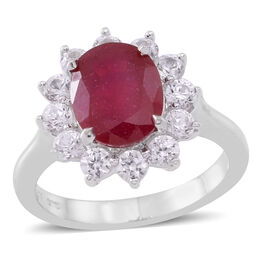 African Ruby (Ovl 3.75 Ct), White Zircon Ring in Rhodium Plated Sterling Silver 5.000 Ct.