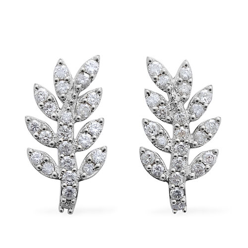 9K W Gold SGL Certified Diamond (Rnd) (I3/ G-H) Leaf Earrings (with Push Back) 1.000 Ct.
