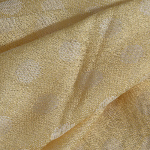 100% Cashmere Wool Golden and White Colour Polka Dots Pattern Scarf with Fringes (Size 200X70 Cm)