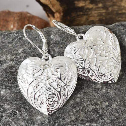 Designer Inspired-Sterling Silver Flower Engraved Heart Lever Back Earrings, Silver wt 11.00 Gms.