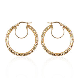 Royal Bali Collection 9K Yellow Gold Lattice Spiga Hoop Earrings (with Clasp)