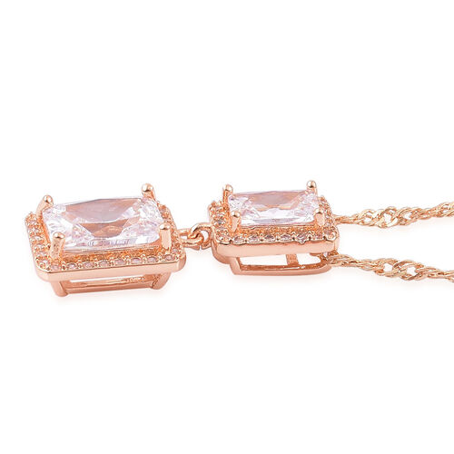 AAA Simulated Diamond Pendant With Chain (Size 18 with 1.5 inch Extender) and Earrings (with Push Back) in Yellow Gold Tone