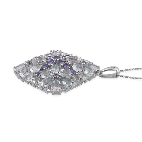 Espirito Santo Aquamarine (Pear), Tanzanite Floral Pendant With Chain in Platinum Overlay Sterling Silver 11.750 Ct.