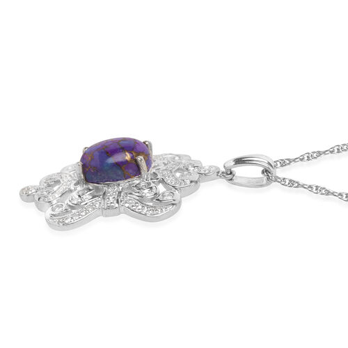 Mojave Purple Turquoise (Ovl), Natural Cambodian Zircon Pendant with Chain in Platinum Plated Silver 3.791 Ct.
