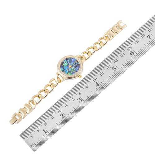 STRADA Japanese Movement Abalone Shell Dial with White Austrian Crystal Watch in Yellow Gold Tone with Curb Chain Strap