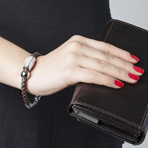 White Austrian Crystal Bracelet (Size 8) in Stainless Steel